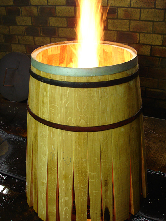 Toasting Wine Barrels