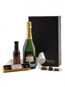 Personalized Sparkling and Truffles - WineShop At Home personalized Semi-Seco Sparkling wine paired with chocolate truffles and chocolate Cabernet sauce