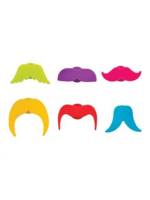 Whiskers Silicone Drink Markers - WineShop At Home six-pack of colorful mini mustaches