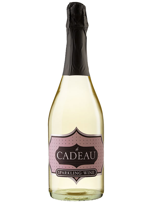 le Cadeau California Semi-Seco Sparkling Wine - white sparkling wine with le CADEAU in gold on a black and periwinkle colored label