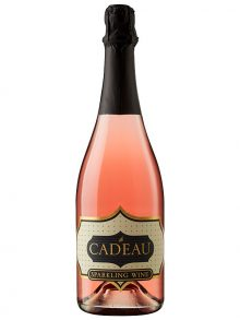 le Cadeau California Rosé Sparkling Wine - rosé sparkling wine with le CADEAU in gold on a black and cream colored label