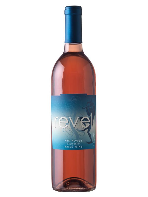 Revel 2018 California Vin Rouge – rosé wine with a navy blue jester silhouette on dark blue, white and light blue gradient label