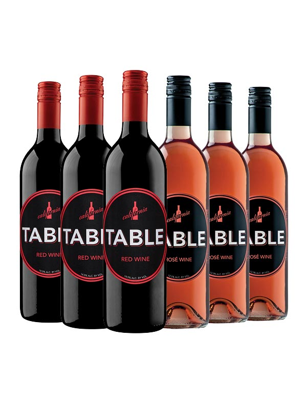 3 Table Red and 3 Table Rosé Wine Half-Case