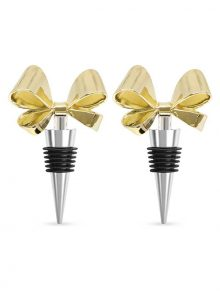 Gold Gift Bow Bottle Stoppers (Set of 2)