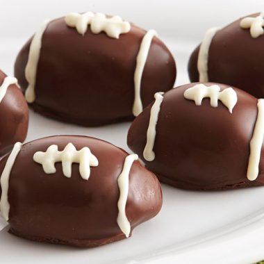 Raspberry Football Truffle Cookies