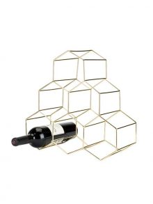 Gold Geo Wine Rack