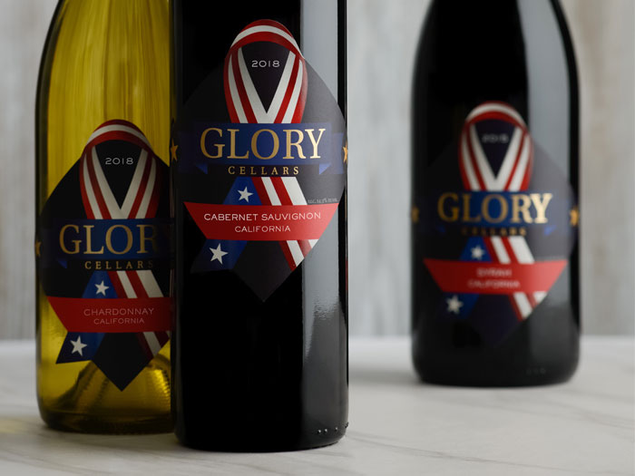 Three bottles of Glory Cellars wines
